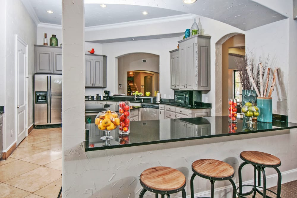 Fully equipped kitchen area in resident clubhouse at Meritage at Steiner Ranch in Austin, Texas