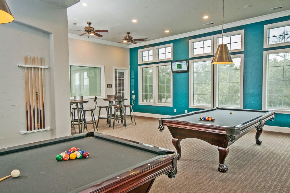 Billiards tables and more in resident clubhouse at Meritage at Steiner Ranch in Austin, Texas