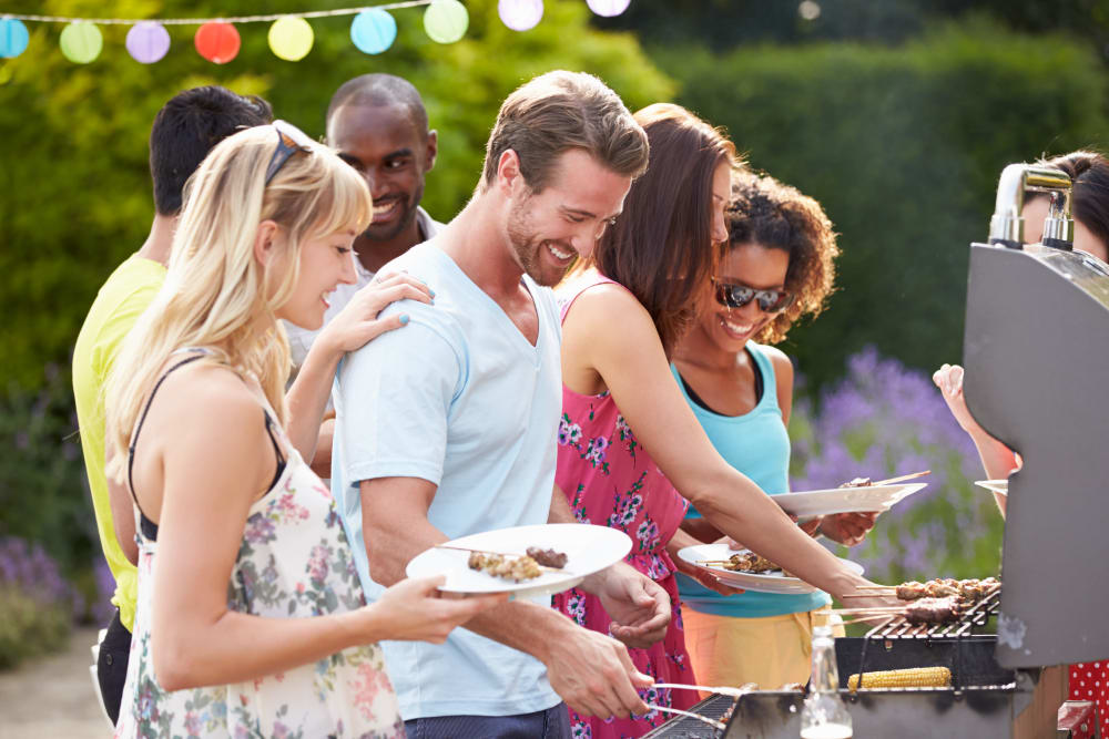 Residents gathering for a barbecue at Montelena in Round Rock, Texas