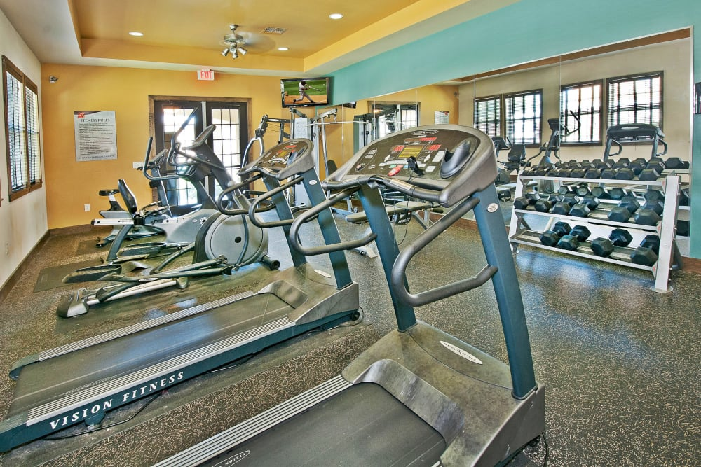 Well-equipped onsite fitness center at Trails at Buda Ranch in Buda, Texas