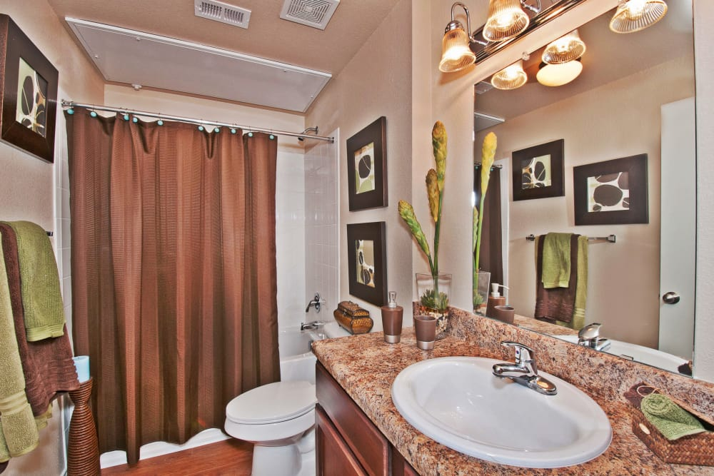 Bright and roomy bathroom with granite countertops in model home at Trails at Buda Ranch in Buda, Texas