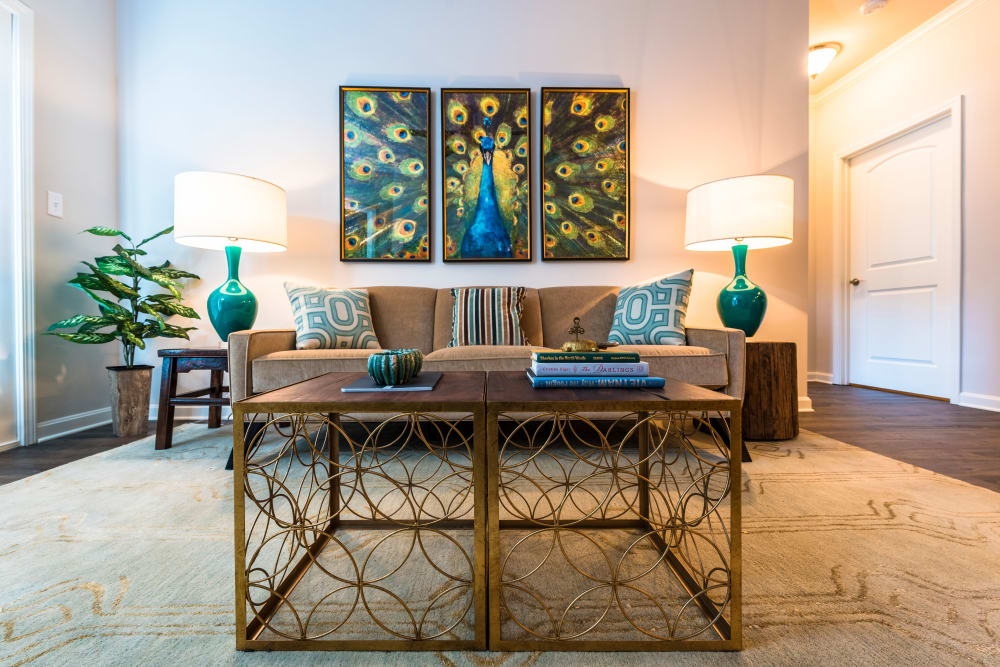 Symmetrically decorated living area in model home at Valley Farms in Louisville, Kentucky