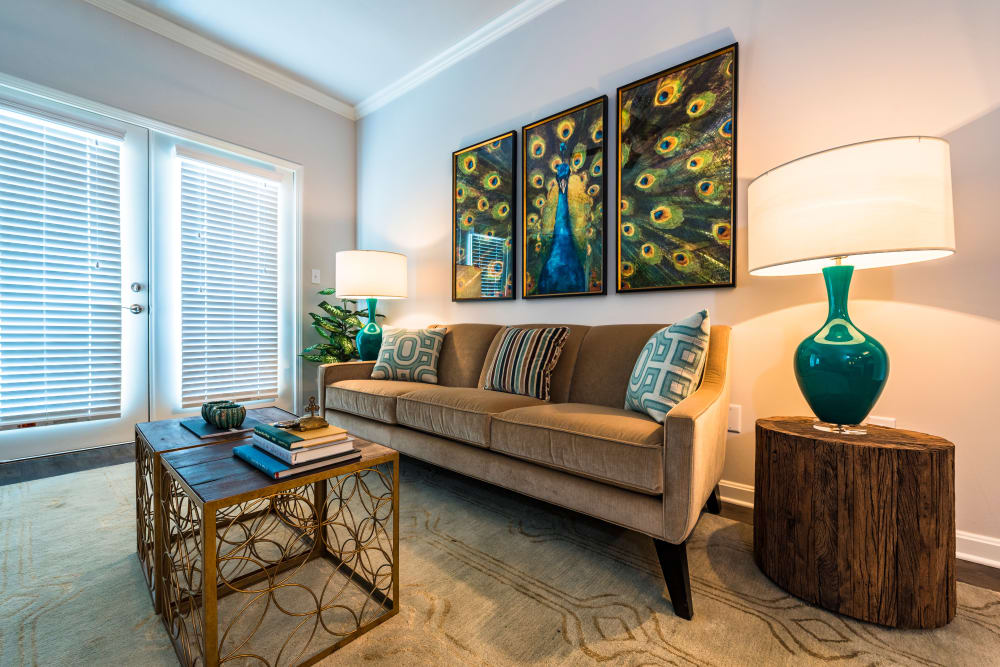 Comfortable and well-decorated living room of model home at Valley Farms in Louisville, Kentucky