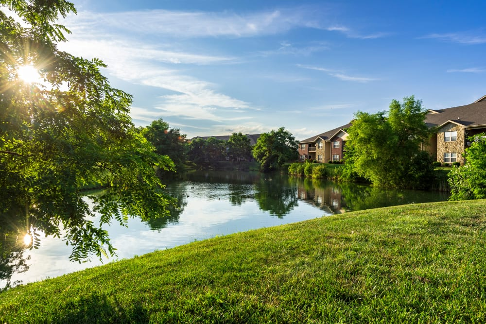 View of resident buildings from across the pond at Valley Farms in Louisville, Kentucky