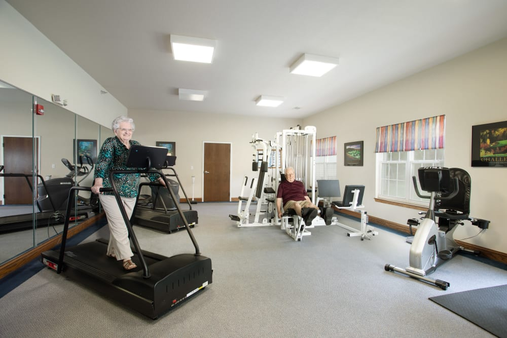 Resident working out at Randall Residence of Decatur's fitness center in Decatur, Illinois