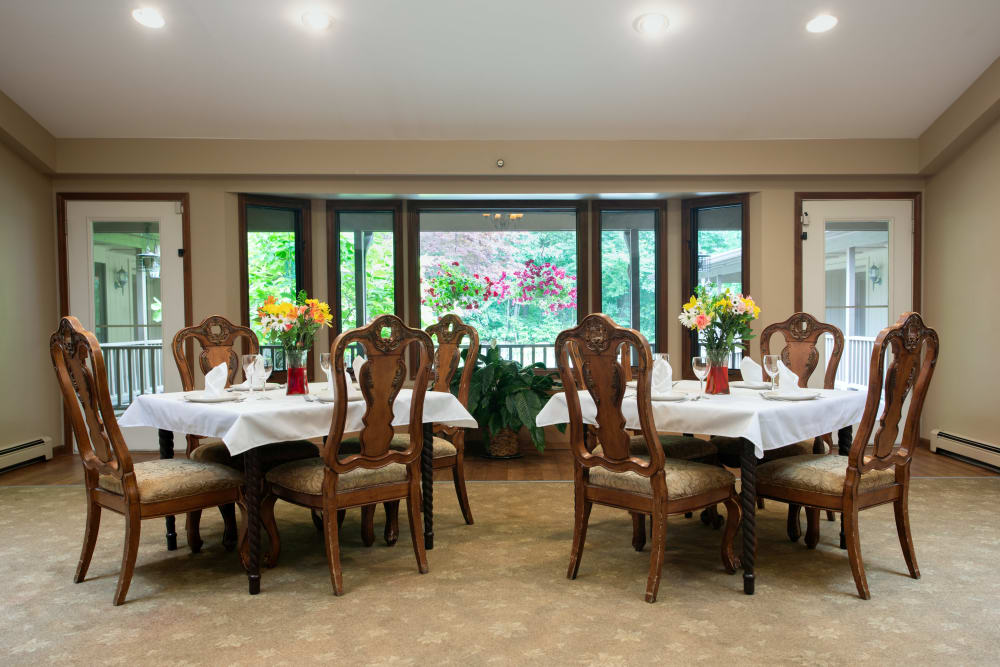 2 square Dining tables in a cafe at Lakeshore Woods in Fort Gratiot, Michigan
