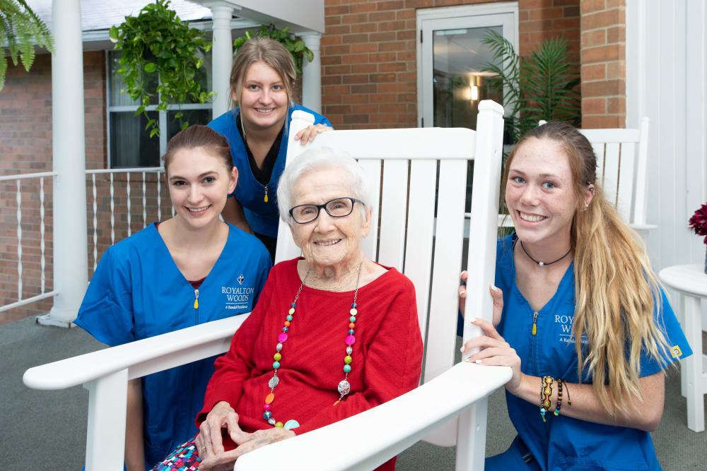 Happy residents and caregivers at Royalton Woods in North Royalton, Ohio