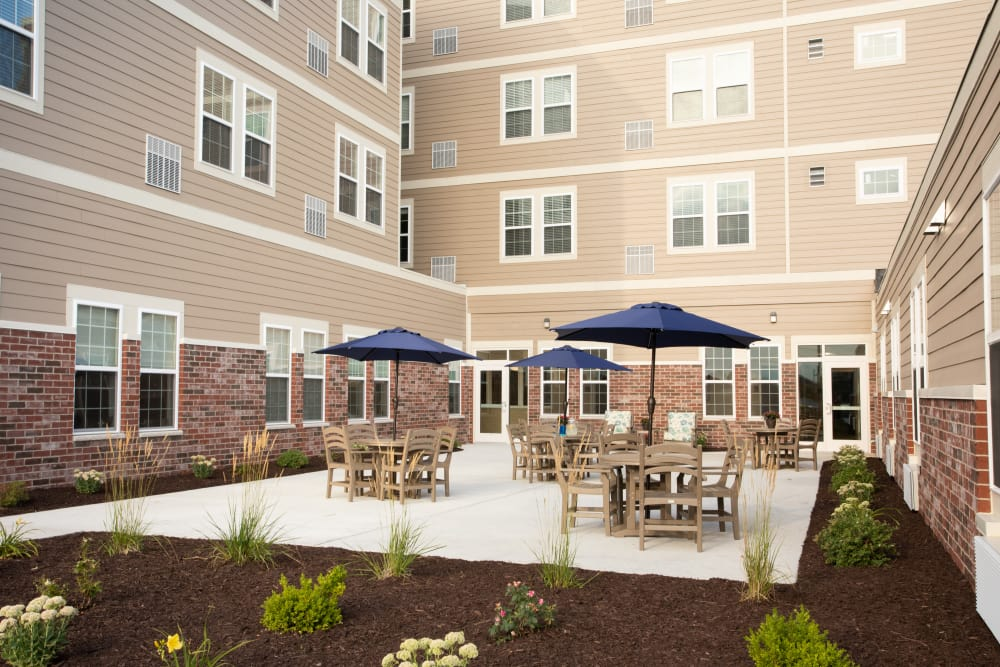 Outdoor patio area at Serenity, A Randall Residence in East Peoria, Illinois