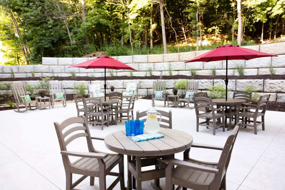 Patio with lots of covered seating at Serenity in East Peoria, Illinois