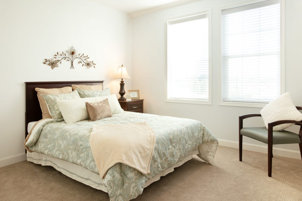 Spacious bedroom at Serenity, A Randall Residence in East Peoria, Illinois