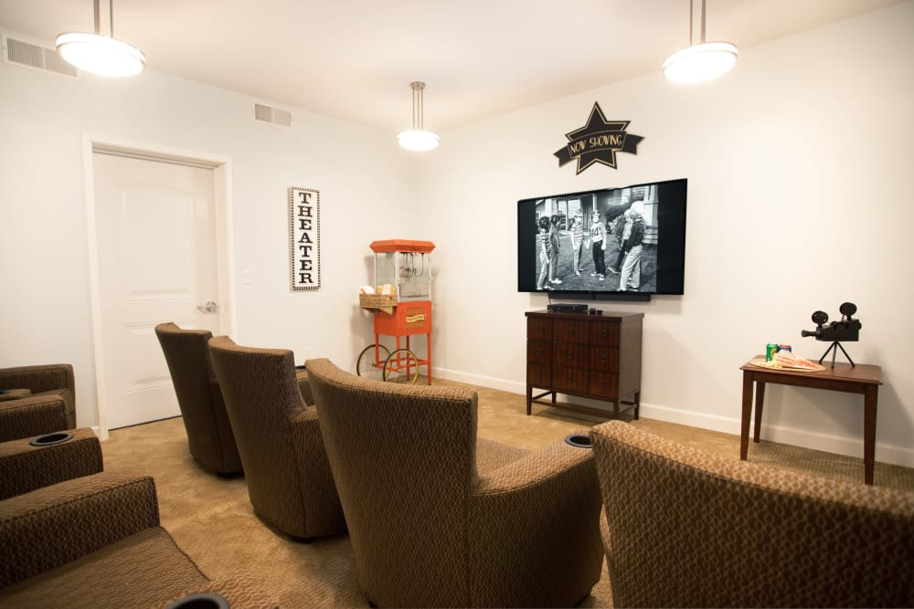 Onsite theater at Serenity, A Randall Residence in East Peoria, Illinois