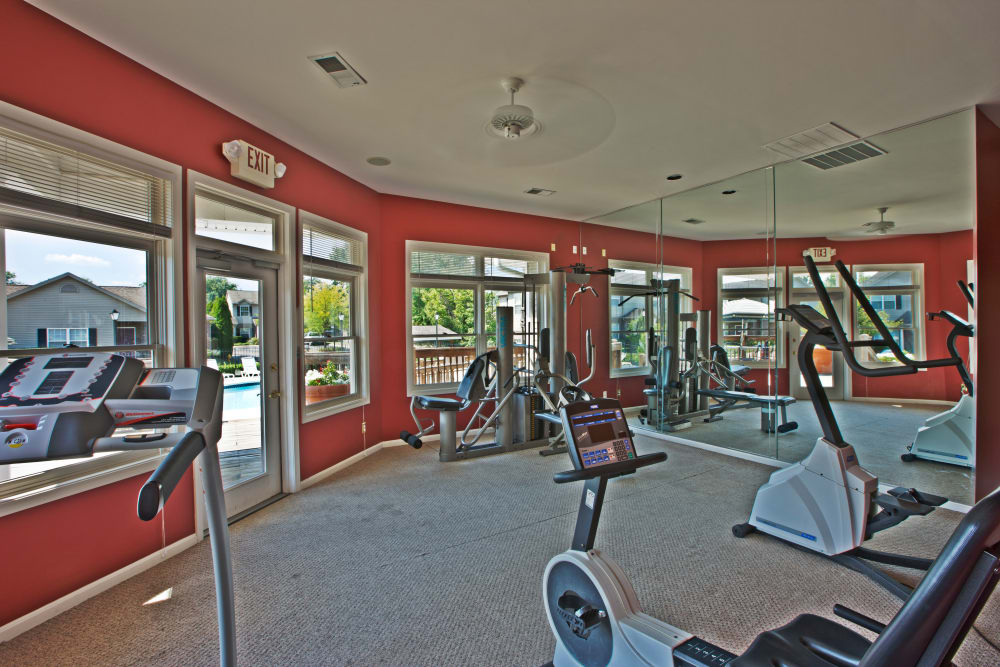Plenty of cardio machines in our onsite fitness center at Cooper Creek in Louisville, Kentucky