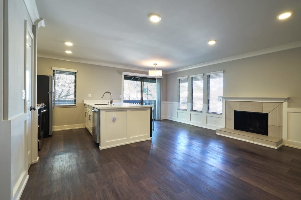 Kitchen and living room view at Marquee in Walnut Creek, California
