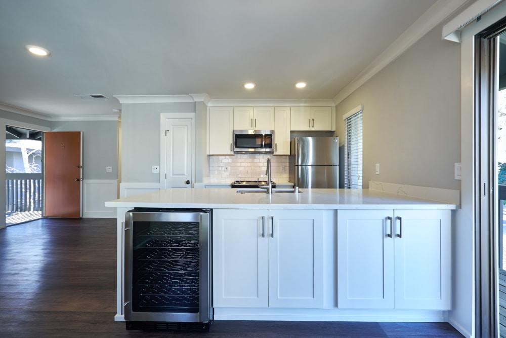 Modern kitchen with a wine fridge at Marquee in Walnut Creek, California