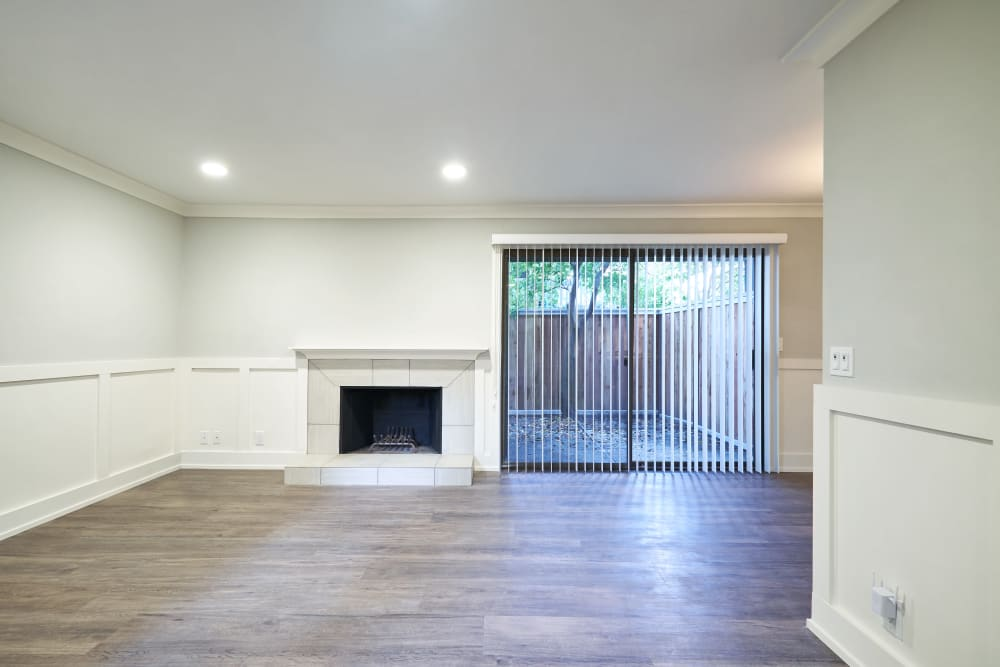 Living room with a fireplace at Marquee in Walnut Creek, California