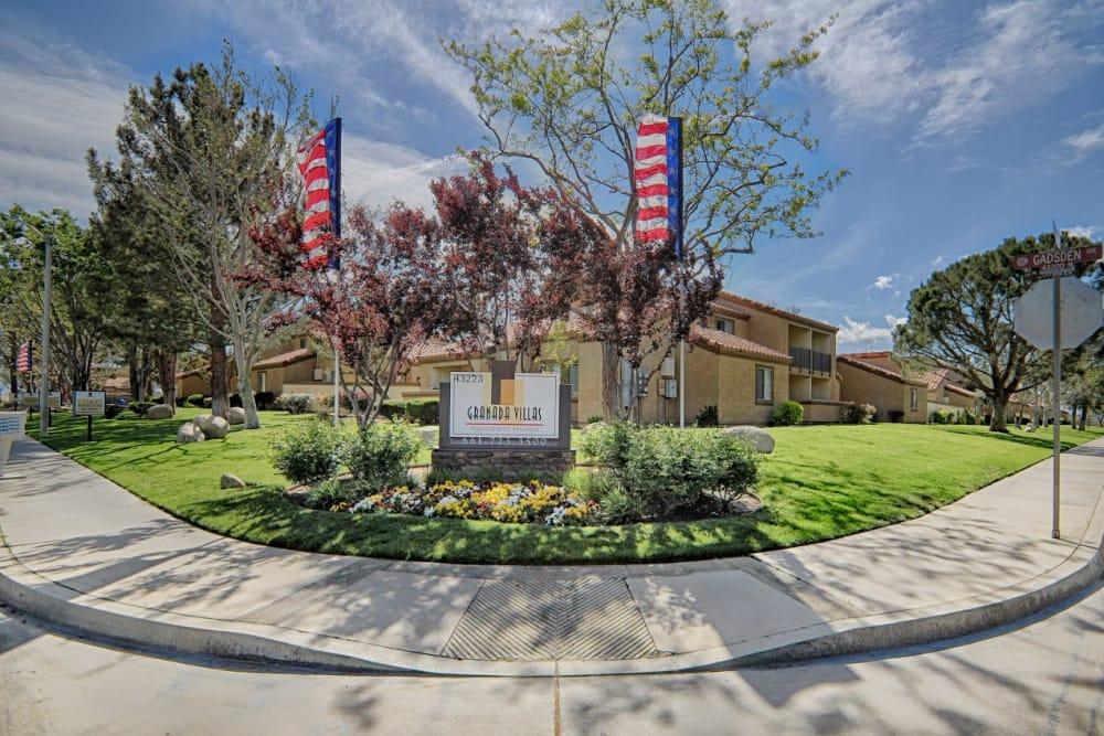 Front sign at entry of Granada Villas Apartment Homes in Lancaster, California