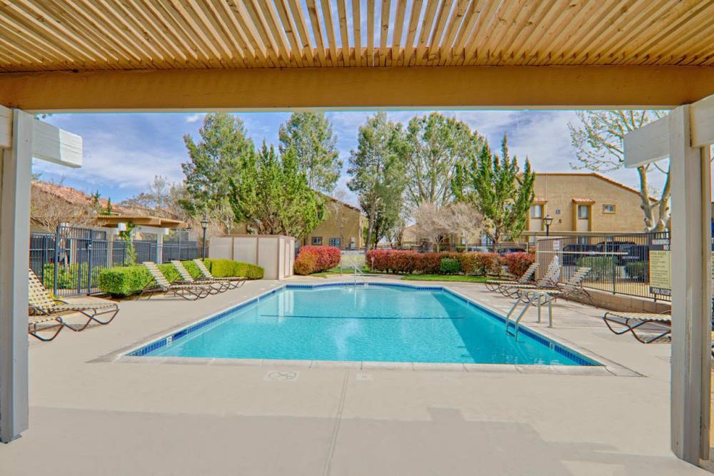 Community swimming pool at Granada Villas Apartment Homes in Lancaster, California