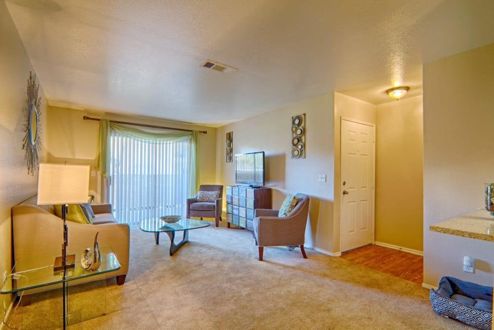 Model living room at Granada Villas Apartment Homes in Lancaster, California
