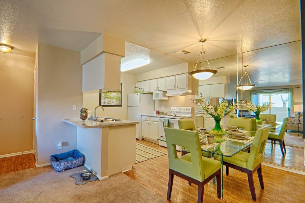 Dining room layout at Granada Villas Apartment Homes in Lancaster, California