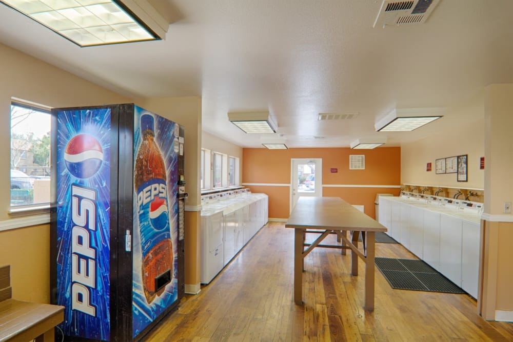 Pepsi vending machine in the laundry facility at Granada Villas Apartment Homes in Lancaster, California