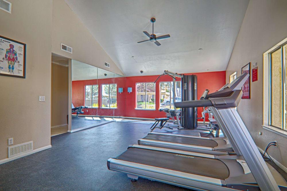 Treadmills in the fitness center at Granada Villas Apartment Homes in Lancaster, California