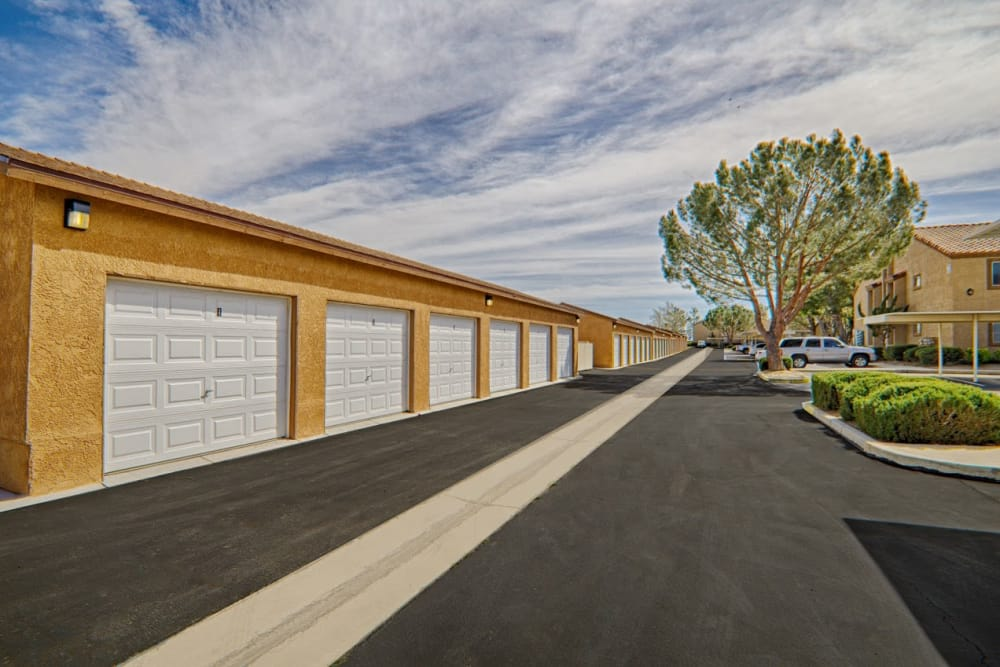 Apartment garages at Granada Villas Apartment Homes in Lancaster, California