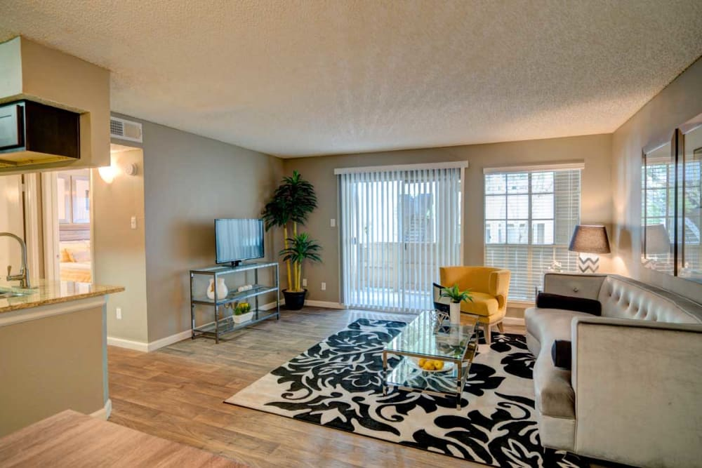 Model living room at Preserve at Wells Branch in Austin, Texas
