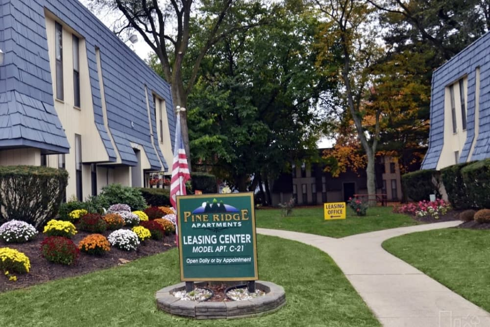 Pathways to resident buildings at Pine Ridge in Lindenwold, New Jersey