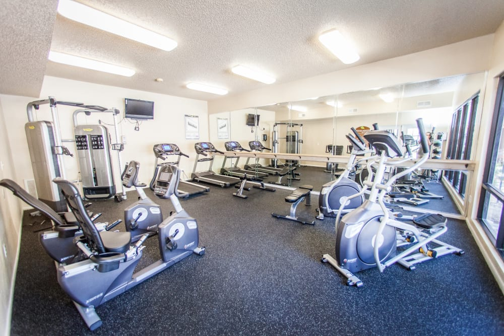 Onsite fitness center with plenty of machines to help you stay fit at Ashley Oaks in San Antonio, Texas