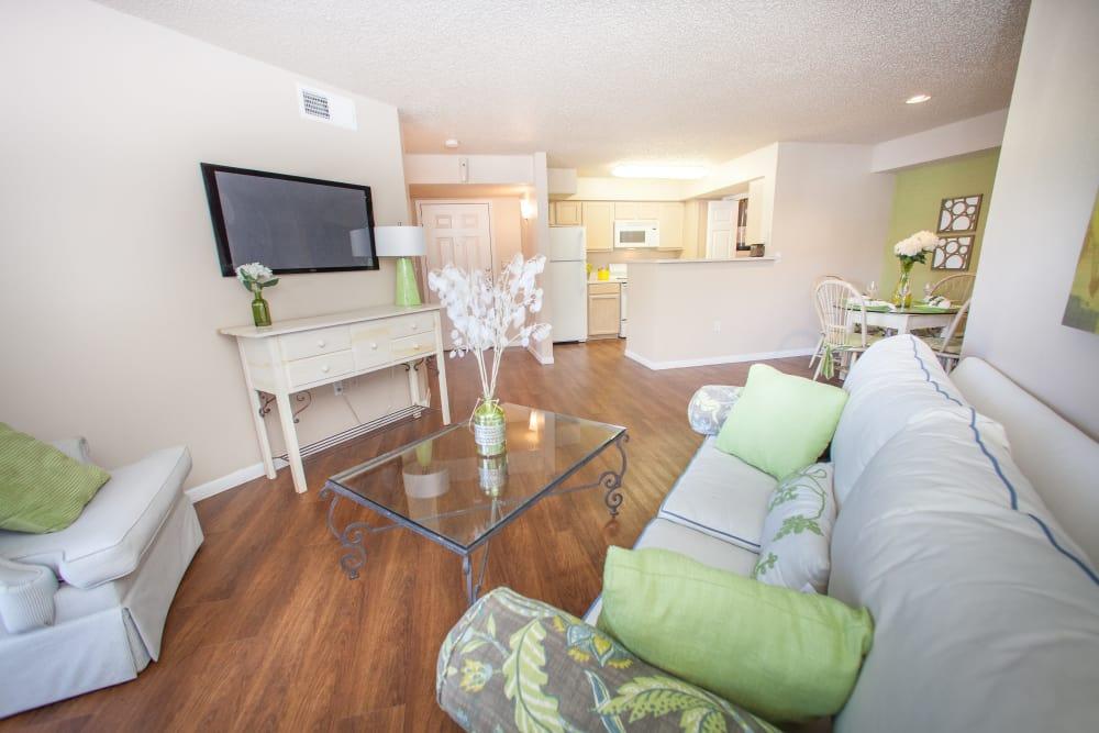 Open-concept floor plan with hardwood floors in model home at Ashley Oaks in San Antonio, Texas