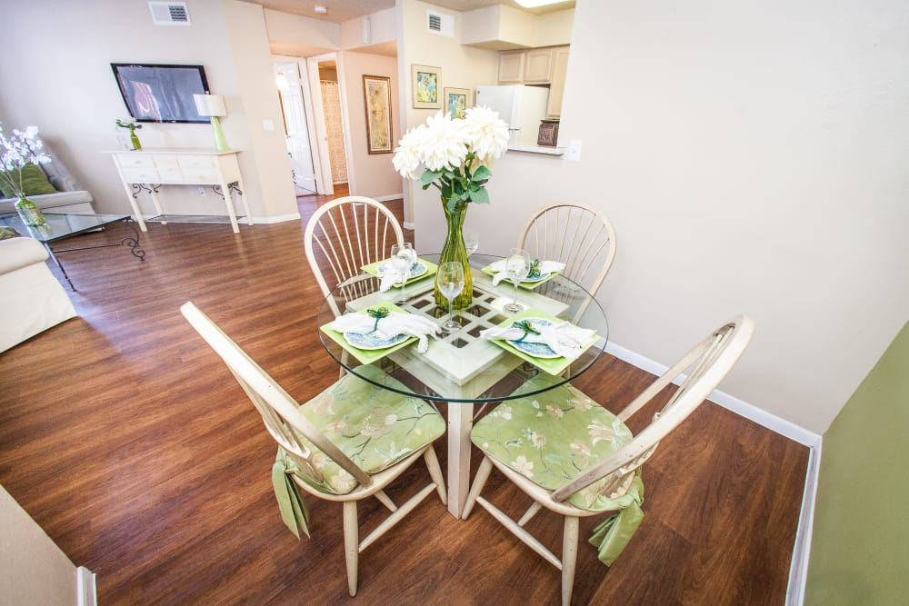 Dining nook in model home at Ashley Oaks in San Antonio, Texas