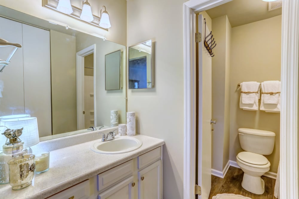 New renovated bathroom at Lincoya Bay Apartments & Townhomes in Nashville, Tennessee