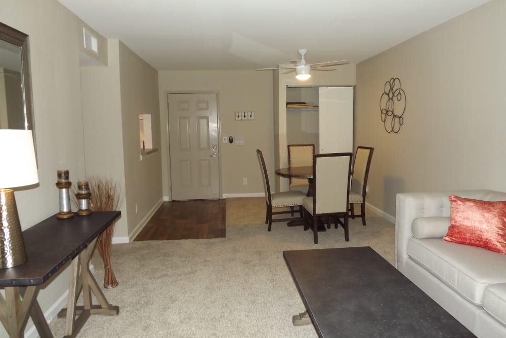 A model of living room at Jackson Grove Apartment Homes in Hermitage, Tennessee