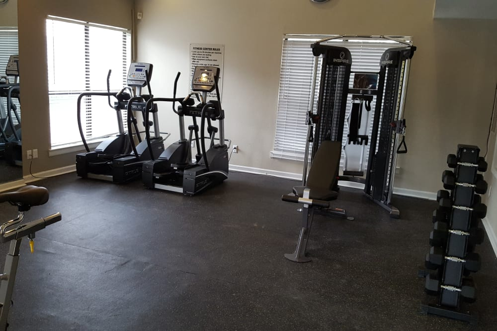 Spacious fitness center at Sheffield Heights Apartment Homes in Nashville, Tennessee