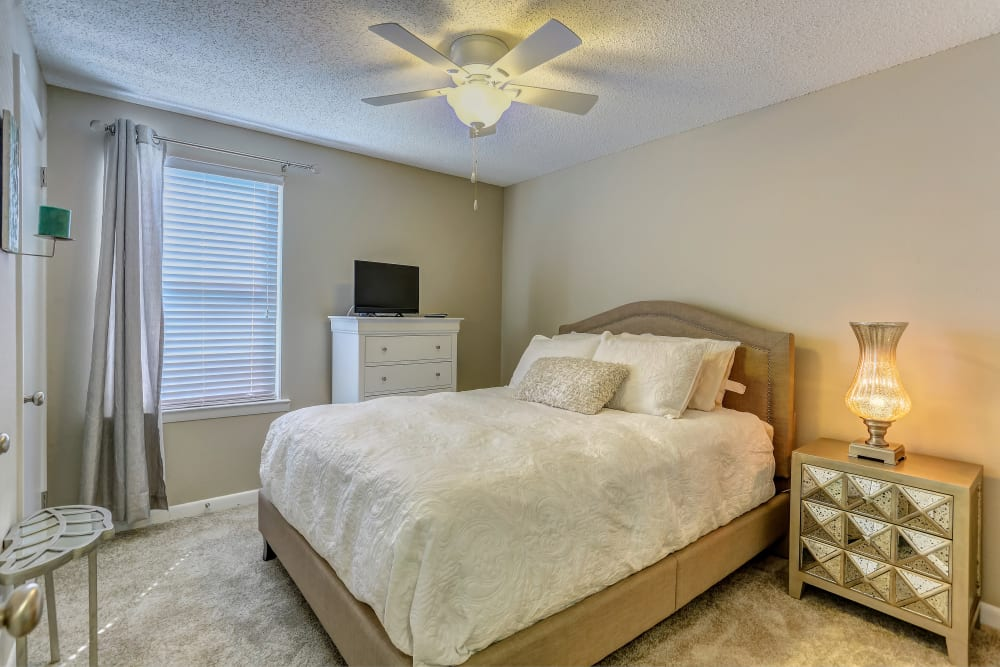 Well decorated bedroom at Sheffield Heights Apartment Homes in Nashville, Tennessee