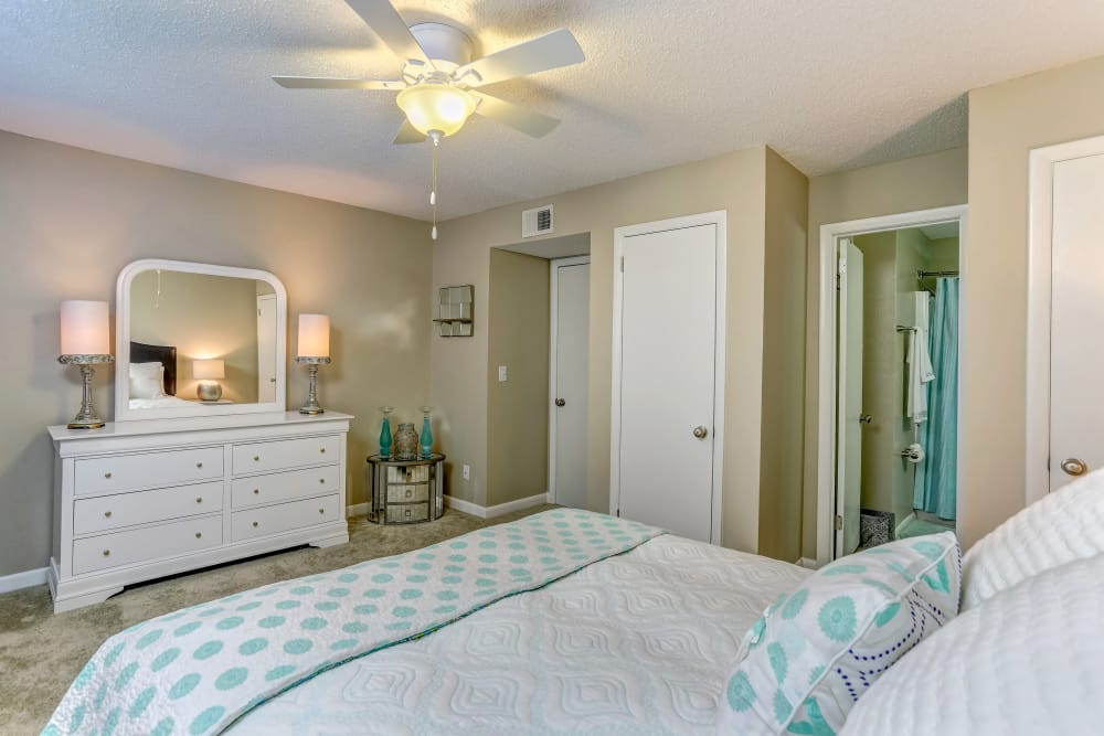 Beautiful bedroom at Sheffield Heights Apartment Homes in Nashville, Tennessee