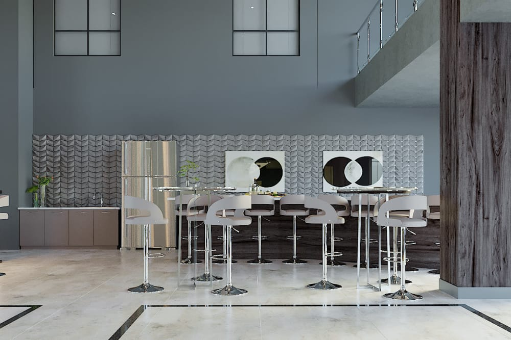 Community seating area with fridge and sink access at The District at Scottsdale in Scottsdale, Arizona