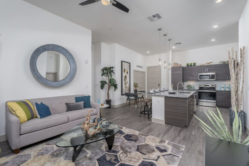 Comfortable seating in the apartment living room at The District at Scottsdale in Scottsdale, Arizona