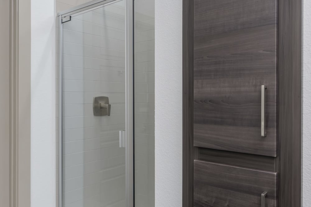 Shower with storage next to it at The District at Scottsdale in Scottsdale, Arizona