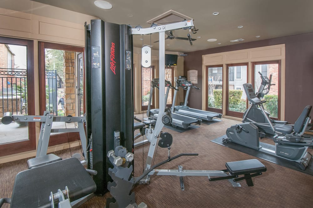 Modern machines in the fitness center at Grayson Ridge in North Richland Hills, Texas