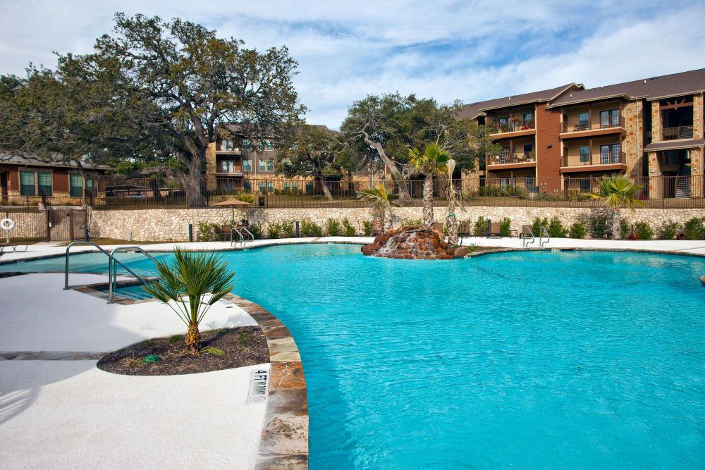 Gorgeous swimming pool at The Hills at Fair Oaks in Fair Oaks Ranch, Texas