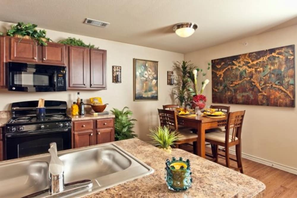 Granite countertops and black appliances in model home's kitchen at The Hills at Fair Oaks in Fair Oaks Ranch, Texas