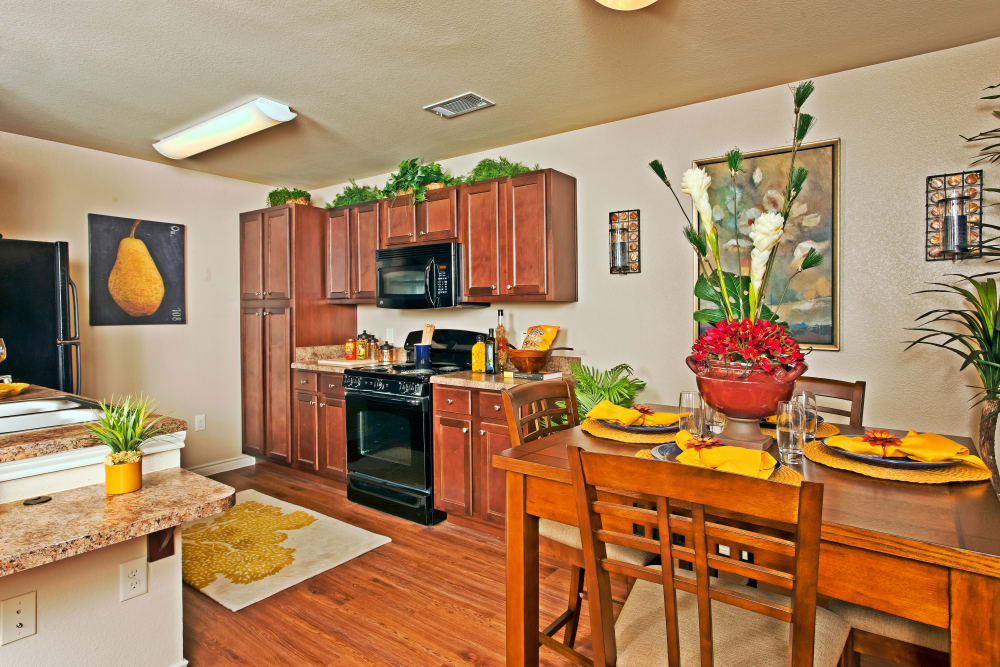Beautifully designed apartment home with hardwood floors at The Hills at Fair Oaks in Fair Oaks Ranch, Texas