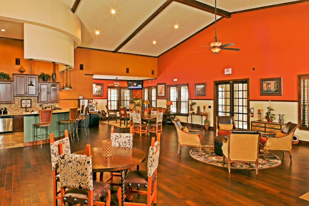 Interior of the spacious resident clubhouse at The Hills at Fair Oaks in Fair Oaks Ranch, Texas