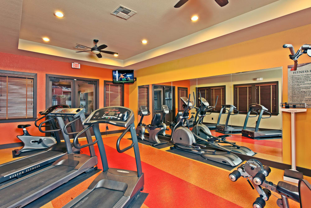 Well-equipped fitness center at The Hills at Fair Oaks in Fair Oaks Ranch, Texas