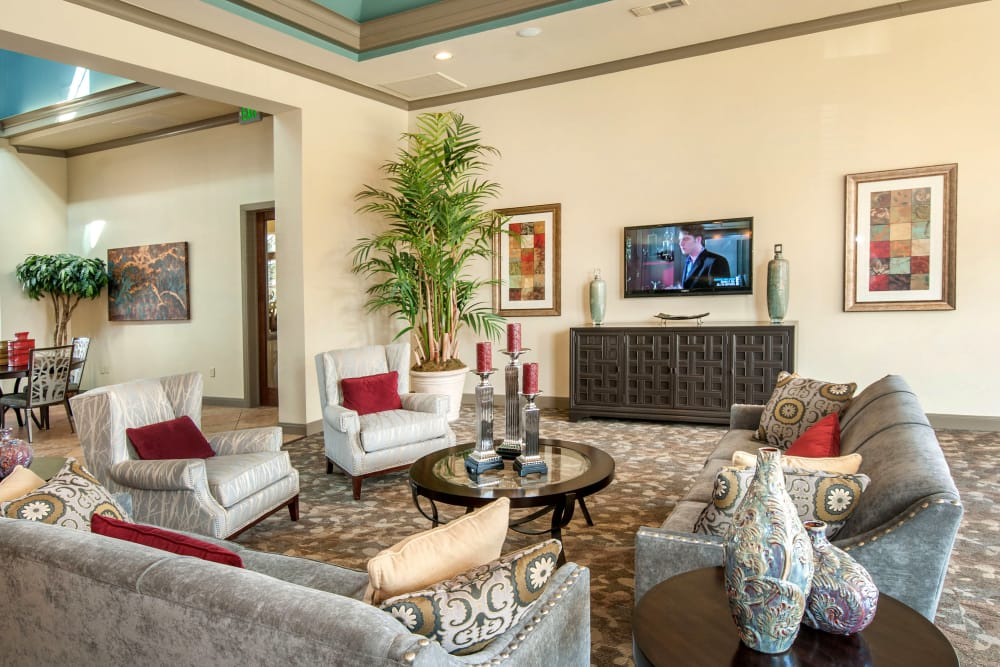 Comfortable seating and flatscreen TV in the resident clubhouse at The Landing at Mansfield in Mansfield, Texas