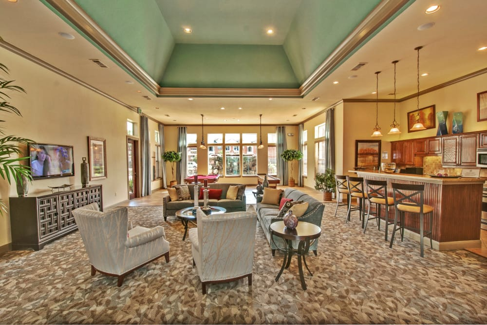 Interior view of the resident clubhouse at The Landing at Mansfield in Mansfield, Texas