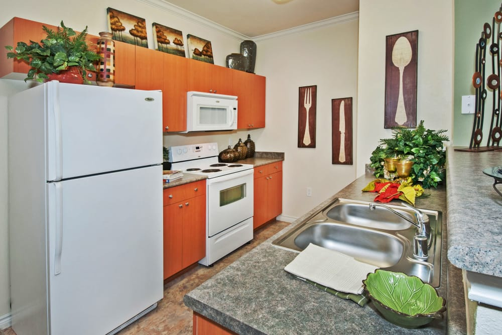 Granite countertops and white appliances in model home's kitchen at The Landing at Mansfield in Mansfield, Texas