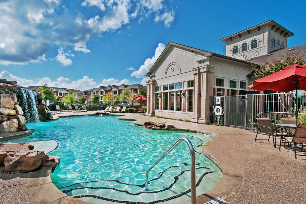 Gorgeous swimming pool area at The Landing at Mansfield in Mansfield, Texas
