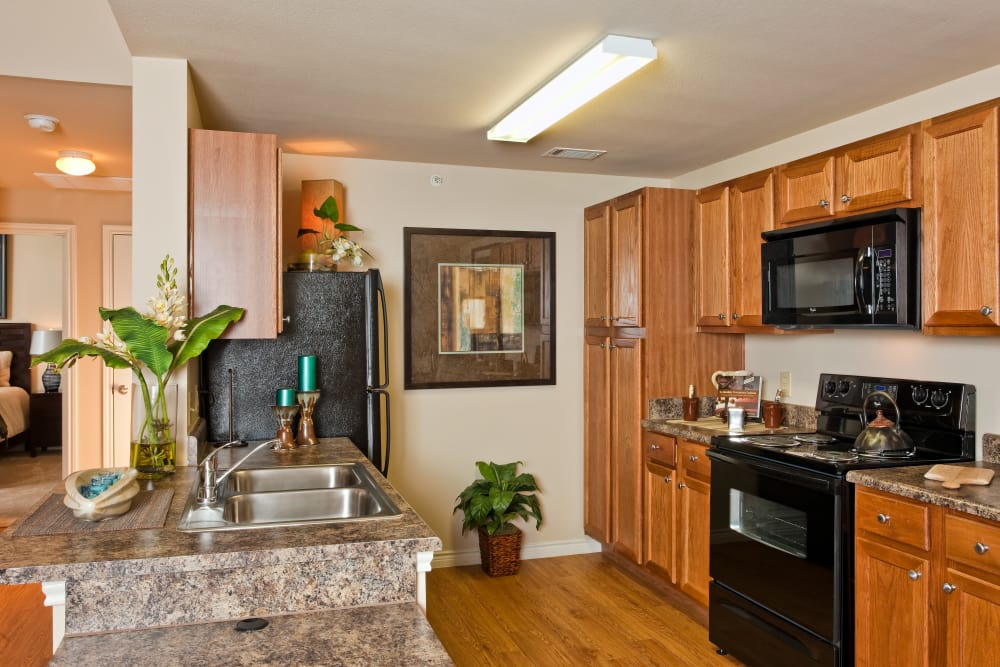 Gourmet kitchen in model home at Springmarc Apartments in San Marcos, Texas
